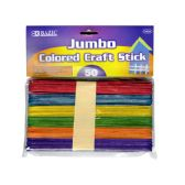24 Units of Jumbo Colored Wooden Craft Stick 50 Pack - Craft Wood Sticks and Dowels
