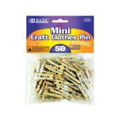 24 Units of Mini Natural Clothes Pin (50/Pack) - Clothes Pins