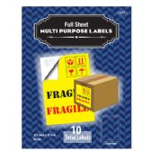 """24 Units of 8.5"""" X 11"""" Full Sheet White Multipurpose Labels (10/Pk) - Labels ,Cards and Index Cards"""