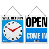 """24 Units of 7.5""""x9"""" """"WILL RETURN"""" Clock Sign w/ """"OPEN"""" sign on back - Signs & Flags"""