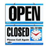 """24 Units of 6"""" X 11.5"""" """"CLOSED"""" Clock Sign w/ """"OPEN"""" sign on back - Signs & Flags"""
