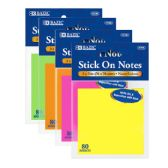 "24 Units of 80 Ct. 3"" X 3"" Neon Stick On Notes - Sticky Note/Notepads"