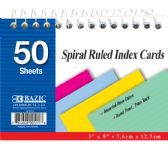 "36 Units of 50 Ct. Spiral Bound 3"" X 5"" Ruled Colored Index Card"