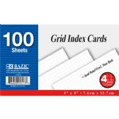 "36 Units of 100 Ct. 3"" X 5"" Quad Ruled 4-1"" White Index Card"