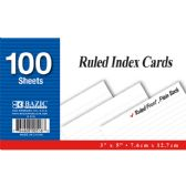 "36 Units of 100 Ct. 3"" X 5"" Ruled White Index Card"