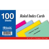 "36 Units of 100 Ct. 3"" X 5"" Ruled Colored Index Card"