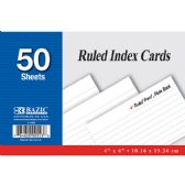 "36 Units of 50 Ct. 4"" X 6"" Ruled White Index Card"