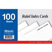 "24 Units of 100 Ct. 4"" X 6"" Ruled White Index Card"