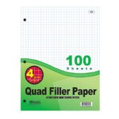 "36 Units of 100 Ct. 4-1"" Quad-Ruled Filler Paper"