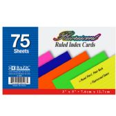 """36 Units of 75 Ct. 3"""" X 5"""" Ruled Fluorescent Colored Index Card - Labels ,Cards and Index Cards"""