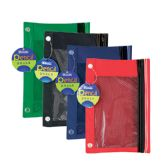 24 Units of 3-Ring Pencil Pouch w/ Mesh Window - Pencil Boxes & Pouches