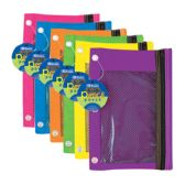 24 Units of Bright Color 3-Ring Pencil Pouch w/ Mesh Window - Pencil Boxes & Pouches