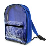 """25 Units of 15"""" Royal Blue Clear Front Backpack - Backpacks"""