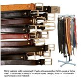 96 Units of MENS LEATHER BUISNESS BELTS WITH RACK 12 ASSORTED DESIGNS - Mens Belts