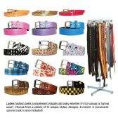 96 Units of LADIES FASHION BELTS WITH RACK 12 ASSORTED DESIGNS - Belts