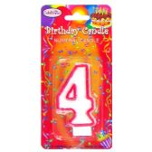 144 Units of B-DAY CANDLE RED NUMERAL #4 - Birthday Candles