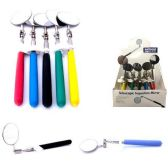 100 Units of EXTENDABLE INSPECTION MIRROR 25 DISPLAY 5 ASSORTED COLORS EXTENDS 22 INCHES