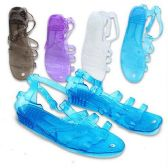 Wholesale 36 Units of WOMENS PLASTIC SANDALS SIZE 5-10 BLACK, WHITE, TURQUOISE & PURPLE