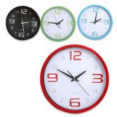 12 Units of QUARTZ CLOCK WITH LARGE NUMBERS BLACK, GREEN, BLUE & RED - 14 INCH