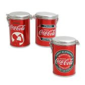 12 Units of COCA COLA TIN CAN WITH LID 3 ASSORTED DESIGNS - 6.5 INCH - Kitchen Trays