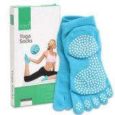 12 Units of BLUE NON SLIP YOGA SOCKS 5 TOE DESIGN - Workout Stuff