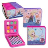96 Units of DISNEY FROZEN 18 PIECE ART SET IN CASE WATERCOLOR PAINT, PAINT BRUSH, CRAYONS