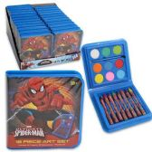 96 Units of MARVEL SPIDERMAN 18 PIECE ART SET WATERCOLOR PAINT, PAINT BRUSH, CRAYONS
