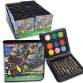 96 Units of NINJA TURTLES 18 PIECE ART SET IN CASE WATERCOLOR PAINT, PAINT BRUSH, CRAYONS