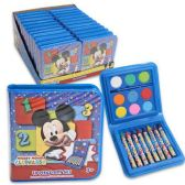 96 Units of DISNEY MICKEY MOUSE 18 PIECE ART SET WATERCOLOR PAINT, PAINT BRUSH, CRAYONS