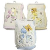 24 Units of BABY BLANKET WITH GIRAFFE DESIGN PINK, BLUE & YELLOW - 30in X 40in - Baby Apparel