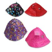 24 Units of GIRLS RAIN HATS WITH 4 ASSORTED PRINTS PINK, RED, BLUE & PURPLE - Girls Apparel