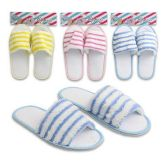 48 Units of WOMENS STRIPED TERRY SLIPPERS ASSORTED COLORS SIZE M