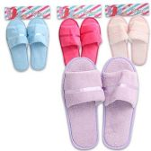 48 Units of LADIES TERRY CLOTH SLIPPERS 4 COLORS