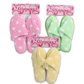 36 Units of SLIPPERS WITH POLKA DOTS IN 3 COLORS PINK, GREEN & YELLOW WITH SIZES S, M & L