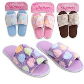 36 Units of SLIPPERS WITH POLKA DOTS IN 4 COLORS PINK, GREEN, PURPLE, BLUE SIZES S, M & L
