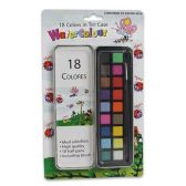 48 Units of WATERCOLOR PAINTS IN TIN CASE WITH BRUSH 18 PAINT COLORS