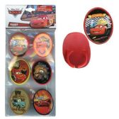 144 Units of 6PK CARS CUPCAKE TOPPER RINGS WITH STICKER ON PLASTIC INSERT IN POLYBA