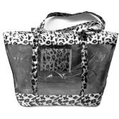 48 Units of BLACK LEPARD HAND BAG 23X20X14 INCH BEACH OR TRAVEL BAG WITH HANDLE