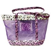 120 Units of PURPLE LEPARD HAND BAG 23X20X14 INCH BEACH OR TRAVEL BAG WITH HANDLE