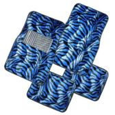 10 Units of 4PC CAR FLOOR MAT BLACK BLUE ZEBRA PRINT 2 FRONT MATS 27X17 + 2 BACK MATS 17X13
