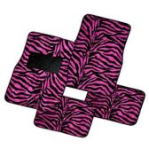 10 Units of 4PC CAR FLOOR MATS BLACK HOT PINK ZEBRA 3 FRONT MATS 27X17 + 2 BACK MATS 17X13