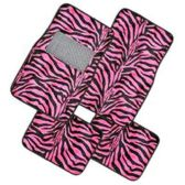 10 Units of 4PC FLOOR MATS BLACK PINK ZEBRA PRINT 4 FRONT MATS 27X17 + 2 BACK MATS 17X13