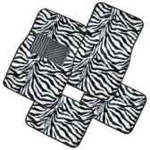 10 Units of 4PC FLOOR MATS BLACK WHITE ZEBRA PRINT 7 FRONT MATS 27X17 + 2 BACK MATS 17X13
