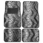10 Units of 4PC CAR FLOOR MATS GRAY LEOPARD PRINT 9 FRONT MATS 27X17 + 2 BACK MATS 17X13