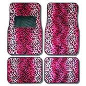 10 Units of 4PC CAR FLOOR MATS PINK LEOPARD PRINT 10 FRONT MATS 27X17 + 2 BACK MATS 17X1