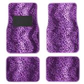 10 Units of 4PC CAR FLOOR MATS PURPLE LEOPARD PRINT 11 FRONT MATS 27X17 + 2 BACK MATS 17X1