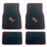 10 Units of 4PC BLACK CARPET FLOOR MATS SET RED PONY 32 FRONT MATS 27X17 + 2 BACK MATS 17X1