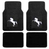 10 Units of 4PC BLACK CARPET FLOOR MATS WHITE PONY 33 FRONT MATS 27X17 + 2 BACK MATS 17X1