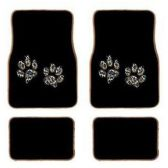10 Units of 4PC BLACK CHEETAH PAW CARPET FLOOR MATS 38 FRONT MATS 27X17 + 2 BACK MATS 17X1