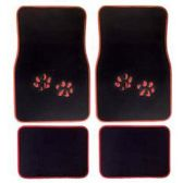 10 Units of 4PC ZEBRA RED PAW CARPET FLOOR MATS 48 FRONT MATS 27X17 + 2 BACK MATS 17X1